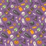 Modello piano delle icone di Halloween su fondo porpora illustrazione vettoriale