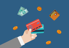 Modello piano di concetto di web di vettore dei soldi di finanza della carta di credito Immagini Stock