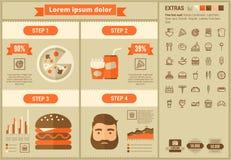 Modello piano di Infographic di progettazione degli alimenti a rapida preparazione Immagine Stock