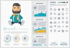 Modello piano di Infographic di progettazione degli alimenti a rapida preparazione Fotografia Stock