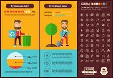 Modello piano di Infographic di progettazione di ecologia Immagini Stock Libere da Diritti