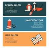 Modello piano di progettazione delle insegne di web del salone di bellezza del parrucchiere per coloritura di capelli e la design illustrazione vettoriale