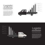 Modello piano di vettore del furgone di consegna del carico dell'automobile delle insegne di concetto logistico modello dell'illu illustrazione vettoriale
