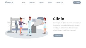 Modello piano di vettore del homepage della clinica di protesi Medico, chirurgo e paziente con i caratteri artificiali dell'arto  illustrazione di stock