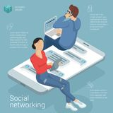 Modello piano di vettore della rete sociale di progettazione Immagine Stock