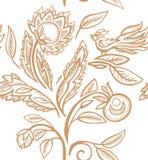 Modello piega con l'uccello e le erbe illustrazione vettoriale