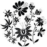 Modello piega floreale nero nella forma del cerchio su fondo bianco Fotografia Stock