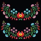 Modello piega floreale ungherese - ricamo di Kalocsai con i fiori e la paprica Fotografie Stock