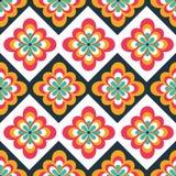 Modello piega senza cuciture con le decorazioni floreali Stampa etnica Può essere usato per progettazione di web, della stampa e  illustrazione di stock