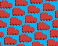 Modello, pixel, cubi, cuore rosso Illustrazione Vettoriale