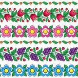 Modello polacco senza cuciture di vettore di arte di piega - progettazione tradizionale di Zalipie con i fiori e le foglie illustrazione di stock