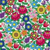 Modello polacco senza cuciture floreale di vettore di arte di piega - progettazione tradizionale con i fiori e le foglie da Zalip illustrazione di stock