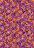 Modello porpora del fondo del ragno della zucca di Halloween Immagine Stock Libera da Diritti