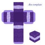 Modello porpora della scatola con il modello floreale Fotografia Stock