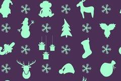 Modello porpora di Natale con Santa, albero di Natale, pupazzo di neve, Sn Fotografia Stock Libera da Diritti