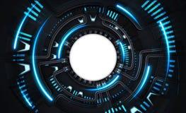 Modello potente scuro di tecnologia con lo spazio bianco del testo del cerchio Fotografia Stock Libera da Diritti