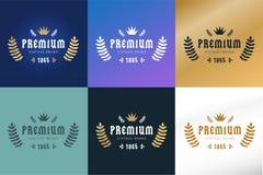 Modello premio d'annata reale dell'icona del distintivo di logo Immagini Stock