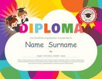 Modello prescolare di progettazione del certificato del diploma dei bambini della scuola elementare Immagine Stock