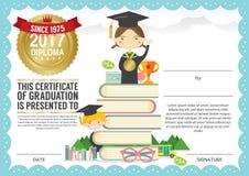 Modello prescolare di progettazione del fondo del certificato del diploma dei bambini della scuola elementare Fotografia Stock Libera da Diritti