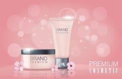 Modello promozionale cosmetico del manifesto del fiore di Sakura Illustrazione di vettore Fotografie Stock
