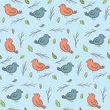 Modello puerile sveglio con gli uccelli variopinti Immagini Stock Libere da Diritti