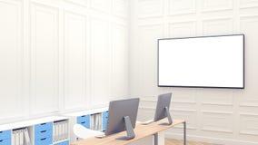 Modello pulito moderno dell'area di lavoro con il grande schermo in bianco sul whall Ufficio bianco moderno Due job Controsoffitt royalty illustrazione gratis