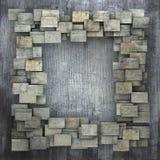 modello quadrato grigio di lerciume delle mattonelle 3d sulla parete grungy grigia royalty illustrazione gratis