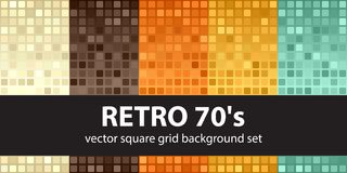 Modello quadrato retro 70s stabilito Ambiti di provenienza senza cuciture delle mattonelle di vettore Immagini Stock
