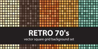 Modello quadrato retro 70s stabilito Ambiti di provenienza senza cuciture delle mattonelle di vettore Fotografia Stock