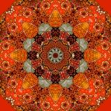 Modello quadrato senza cuciture con il fiore luminoso - mandala nei toni ardenti Immagini Stock Libere da Diritti