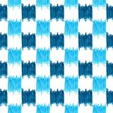 Modello a quadretti blu senza cuciture dell'acquerello del ikat Fotografie Stock