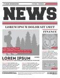 Modello quotidiano di vettore del tabloid di notizie illustrazione di stock