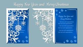Modello, ramo con i fiocchi di neve Invito di Natale con un fiocco di neve Vettore cliche Buon Natale e nuovo anno Per il laser illustrazione vettoriale
