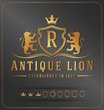 Modello reale di progettazione di vettore della cresta dei leoni lussuosi Fotografie Stock Libere da Diritti