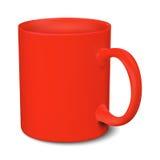 Modello realistico 3D della tazza rossa su un fondo bianco Illustrazione Vettoriale