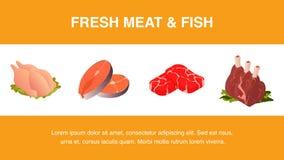 Modello realistico dell'insegna del pesce e della carne fresca illustrazione di stock