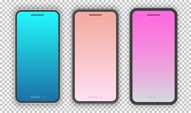Modello realistico dello smartphone messo con lo schermo d'avanguardia di pendenza illustrazione vettoriale
