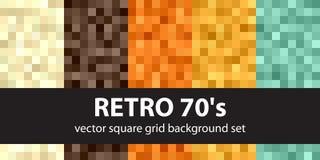 Modello retro 70s stabilito del pixel Ambiti di provenienza senza cuciture di arte del pixel di vettore Immagine Stock Libera da Diritti