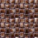 Modello in rilievo senza cuciture 3d dei blocchi marroni con la struttura di legno Fotografia Stock