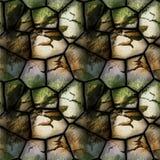 Modello in rilievo senza cuciture 3d delle pietre incrinate con erba Fotografie Stock Libere da Diritti