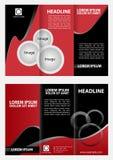 Modello ripiegabile moderno di progettazione dell'opuscolo con fondo rosso Fotografie Stock Libere da Diritti