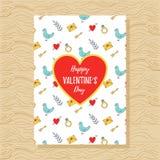 Modello romantico della cartolina d'auguri di giorno del ` s del biglietto di S. Valentino della st Fotografie Stock Libere da Diritti