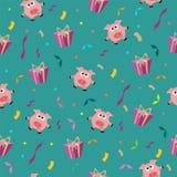 Modello romantico di compleanno senza cuciture con la scatola di regalo e del maiale con il Se immagini stock