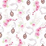 Modello romantico di vettore con le rose, medaglioni a catena, orchidee Immagine Stock