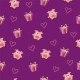 Modello romantico senza cuciture con la scatola di regalo e del maiale con i cuori fotografie stock libere da diritti