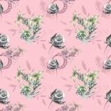 Modello rosa con le rose grige royalty illustrazione gratis