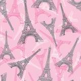 Modello rosa di ripetizione di Grey Eifel Tower Paris Seamless di vettore Perfezioni per le cartoline di tema di viaggio, cartoli Immagine Stock Libera da Diritti