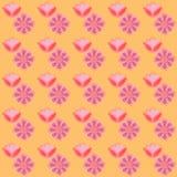 Modello rosa giallo floreale del fondo Effetto della spazzola del fiore Fotografia Stock