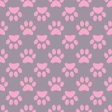Modello rosa grigio senza cuciture della zampa animale Fotografia Stock