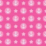 Modello rosa l'ancora per il tessuto o la carta Fotografie Stock